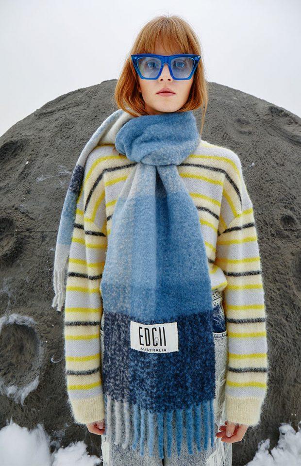 大西洋蓝棉花糖羊毛围巾
