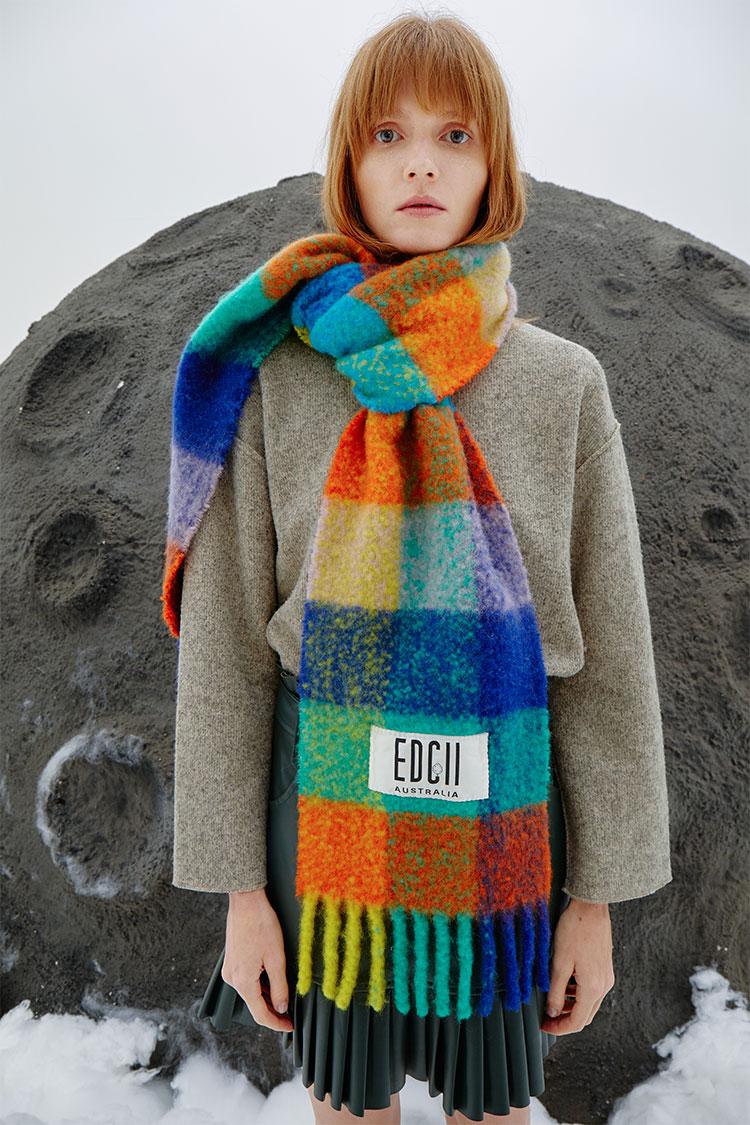 彩虹棉花糖羊毛围巾