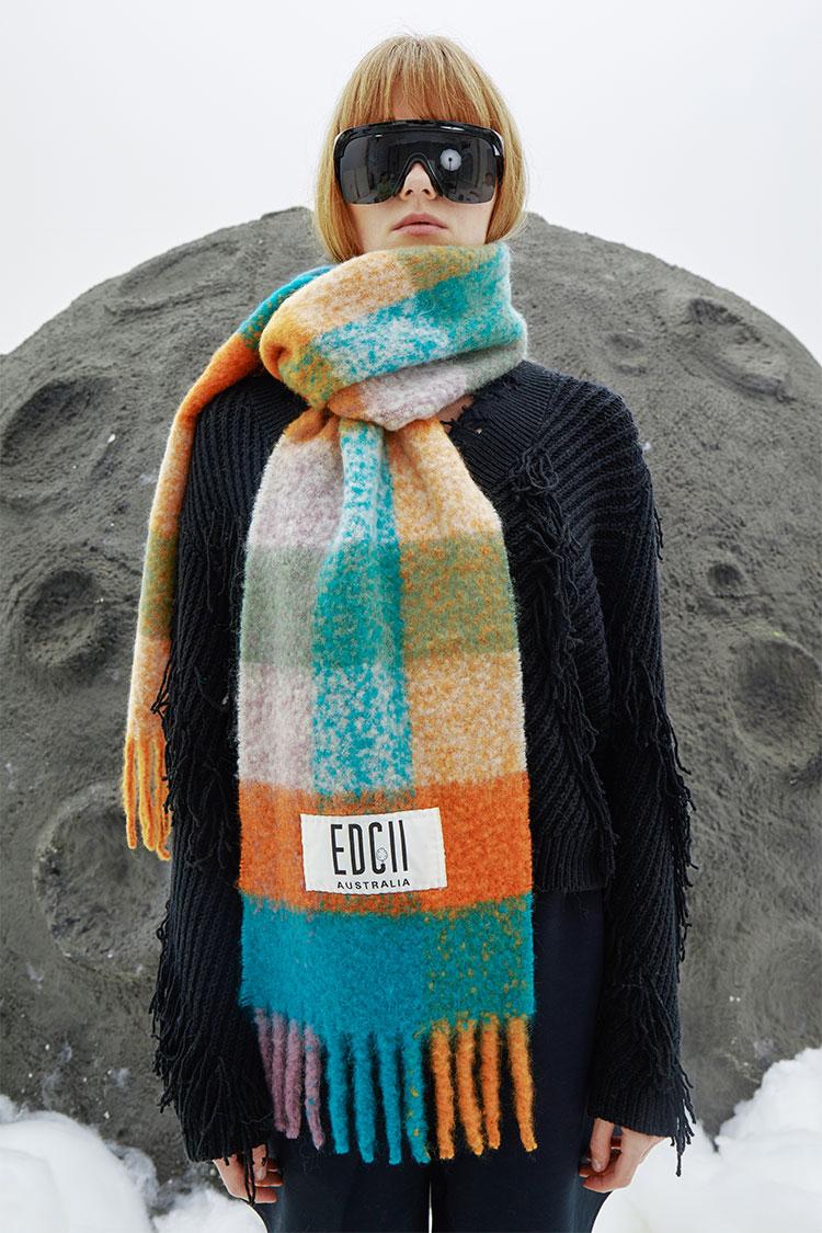 冰果绿橙棉花糖羊毛围巾