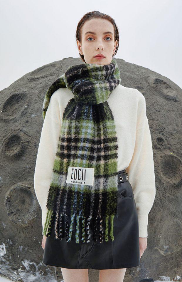 雨林绿棉花糖羊毛围巾