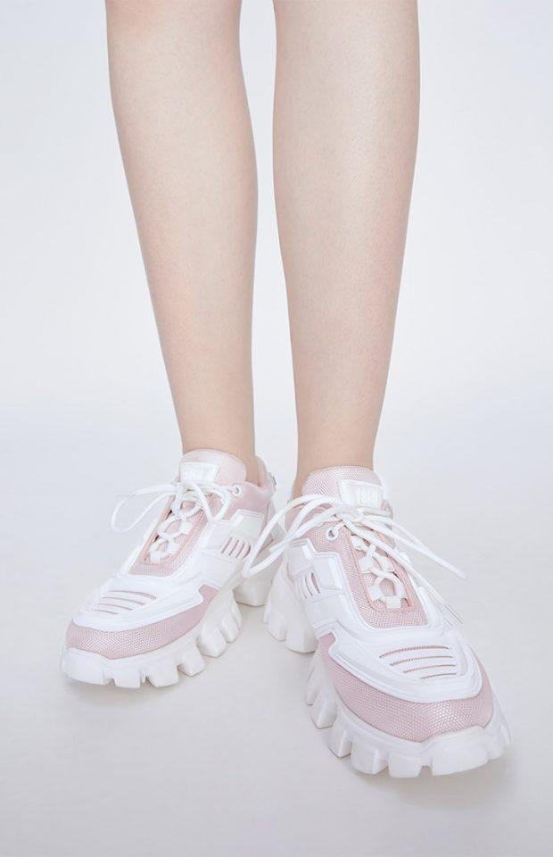 撞色厚底运动休闲鞋粉色
