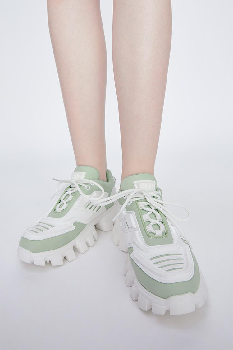 撞色厚底运动休闲鞋绿色