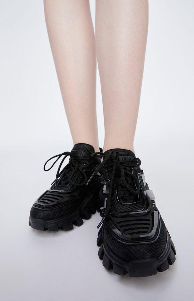 撞色厚底运动休闲鞋黑色