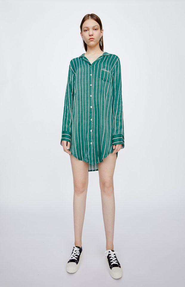 牛油果倍润绿条纹衬衫裙睡衣