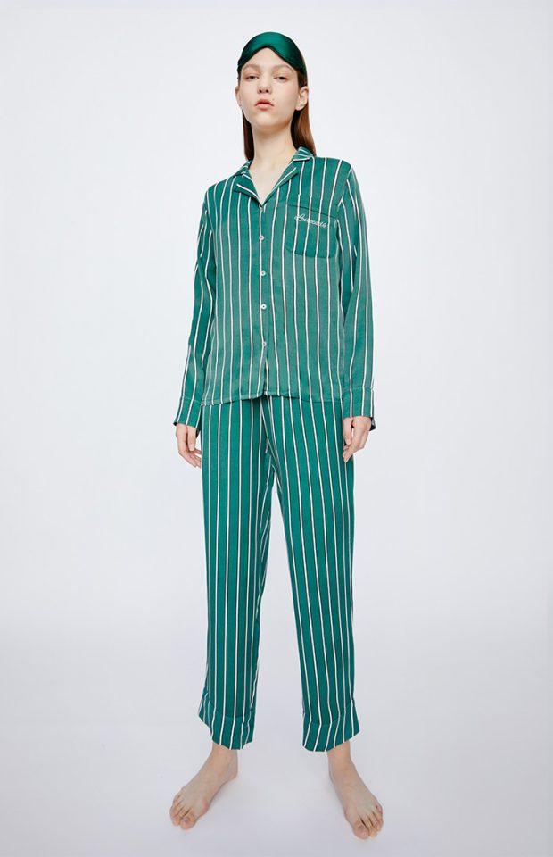 牛油果倍润绿条纹睡衣套装
