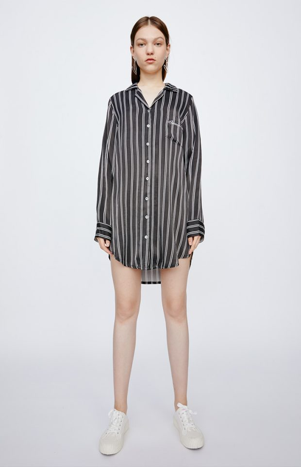 牛油果倍润黑条纹衬衫裙睡衣