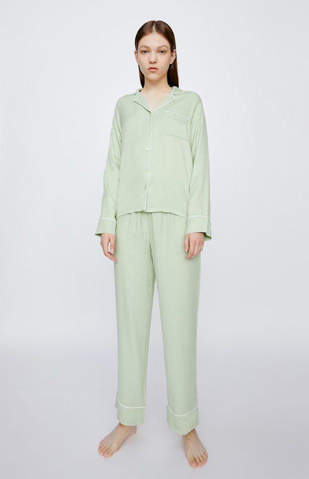牛油果倍润睡衣套装果绿色