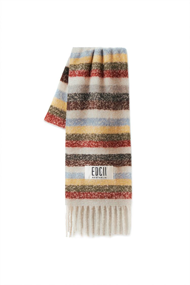 焦糖奶茶条纹棉花糖羊毛围巾