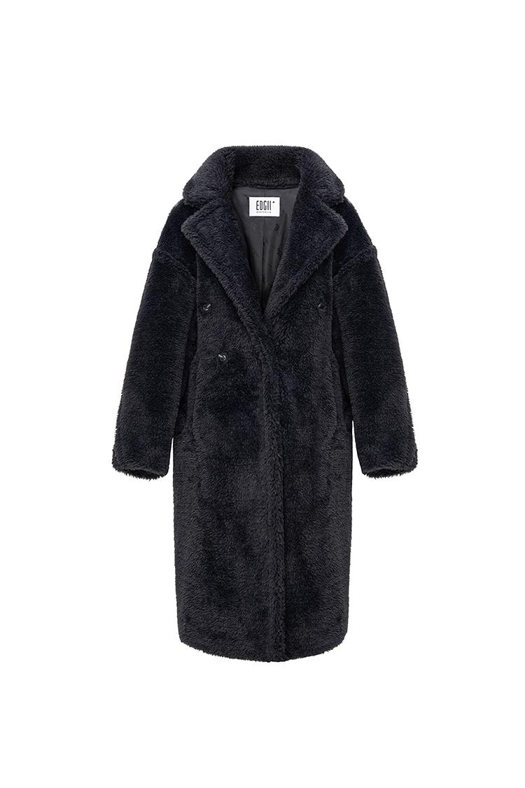 经典泰迪羊毛大衣黑色