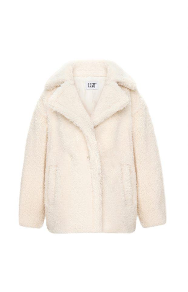 短款泰迪羊毛大衣米白