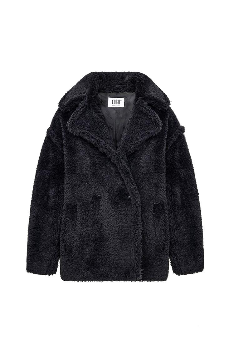 短款泰迪羊毛大衣黑色