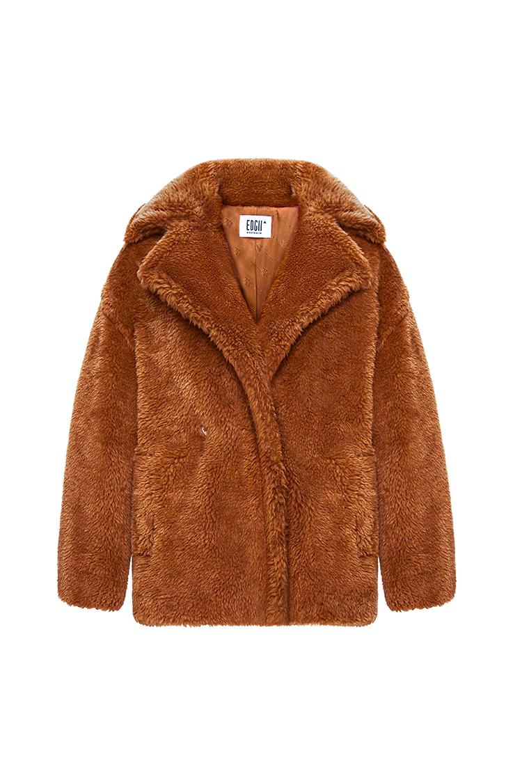 短款泰迪羊毛大衣栗棕