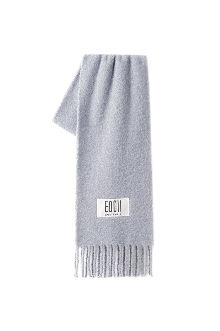 深灰棉花糖羊毛围巾