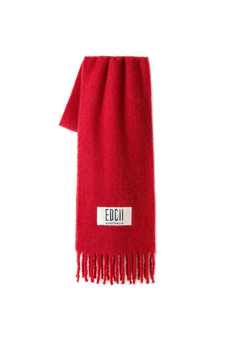 大红棉花糖羊毛围巾