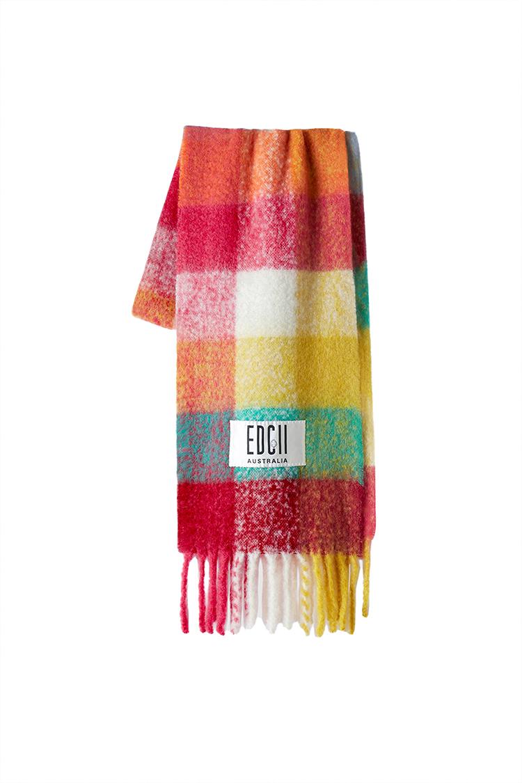 霓虹炫彩格纹棉花糖羊毛围巾