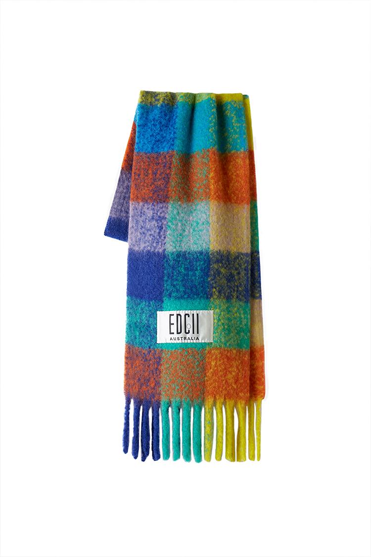 缤纷彩虹格纹棉花糖羊毛围巾