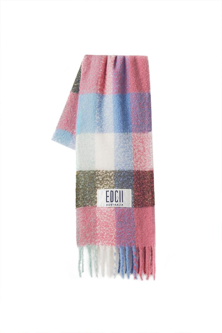香芋树莓格纹棉花糖羊毛围巾