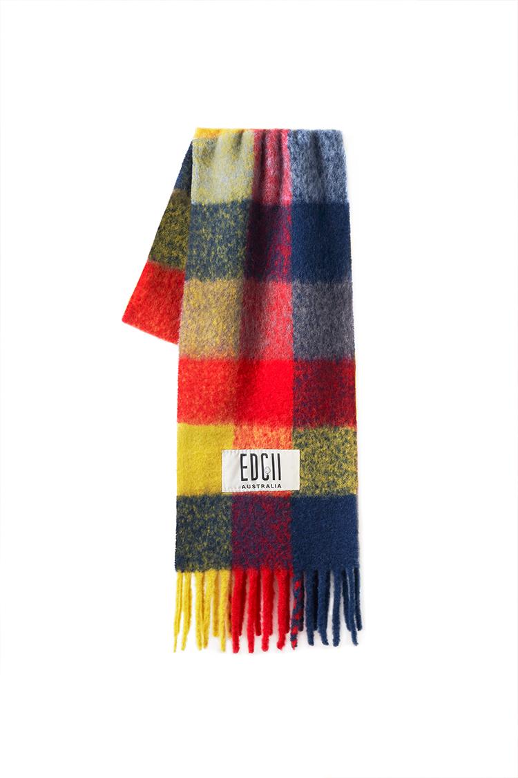 姜黄霉果格纹棉花糖羊毛围巾
