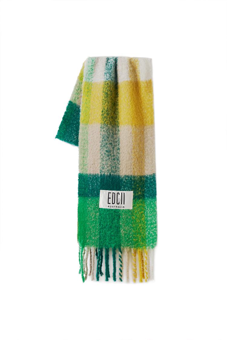 森林绿格纹棉花糖羊毛围巾