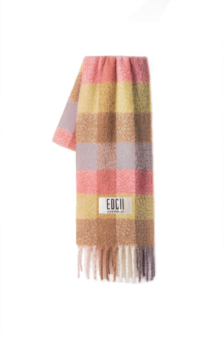 烟橘橙格纹棉花糖羊毛围巾