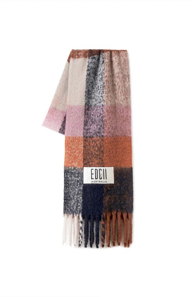 黑加仑格纹棉花糖羊毛围巾