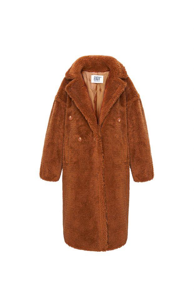 经典泰迪羊毛大衣栗棕