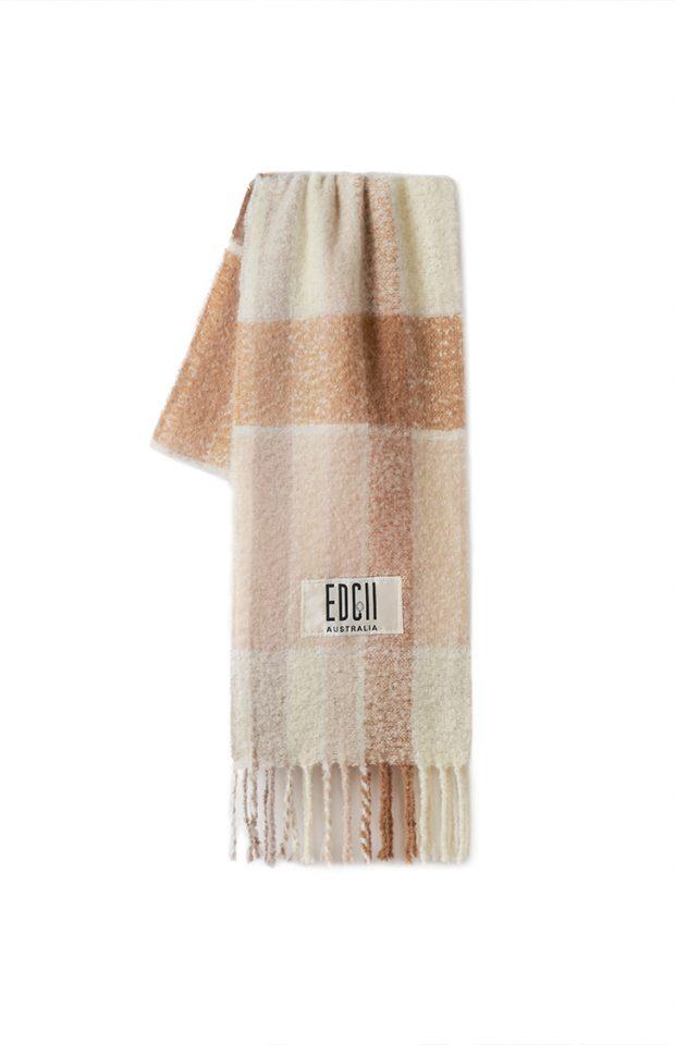 奶油米棕格纹棉花糖羊毛围巾