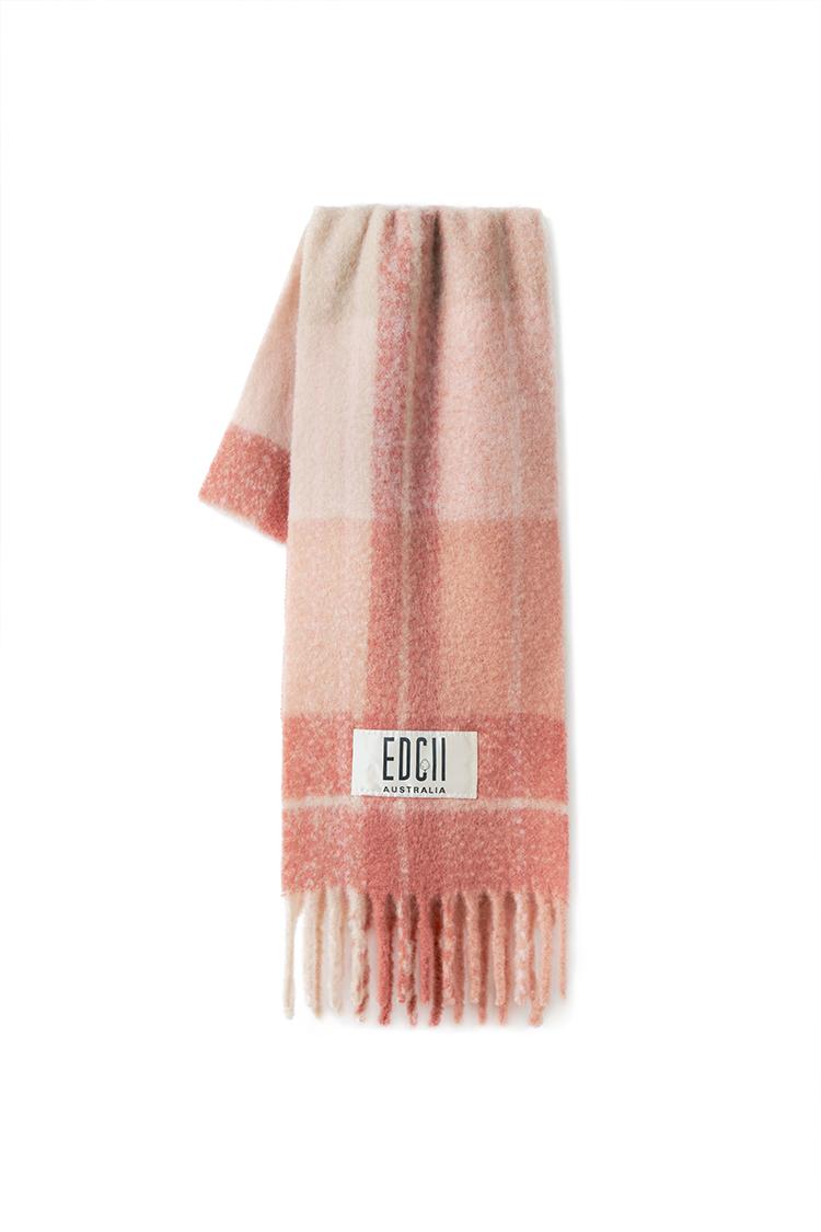 肉桂粉格纹棉花糖羊毛围巾