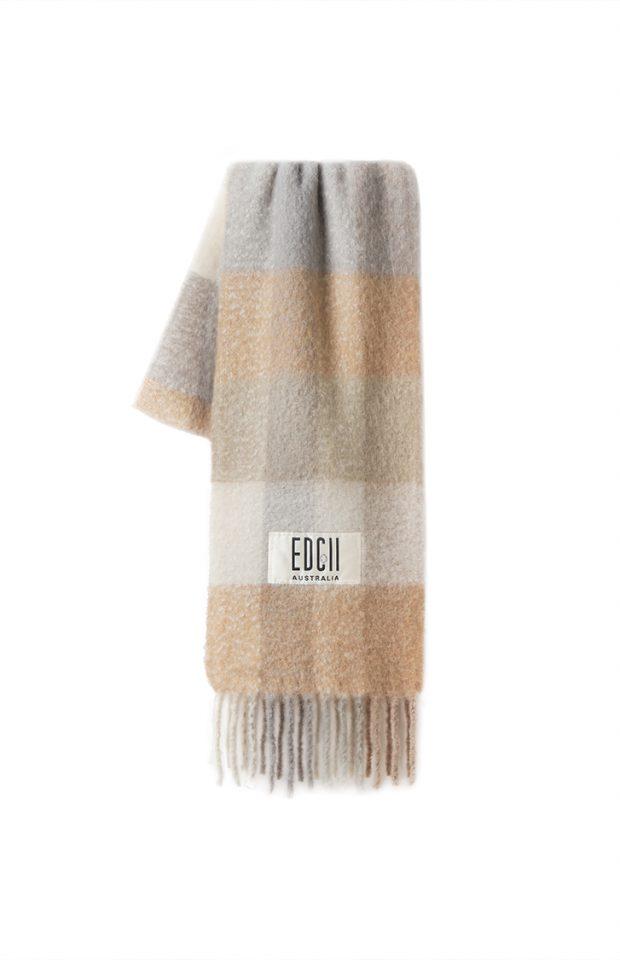 奶茶浅灰格纹棉花糖羊毛围巾