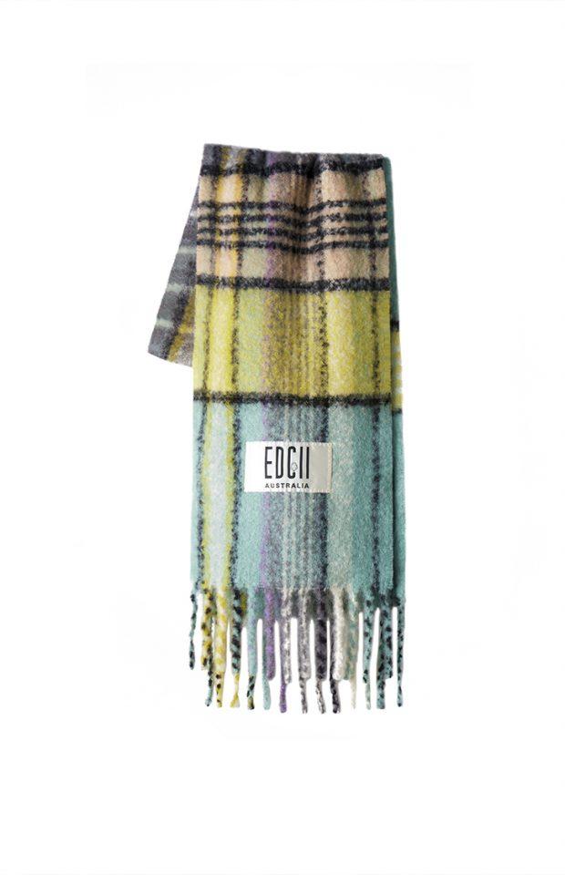冰霜绿格纹棉花糖羊毛围巾
