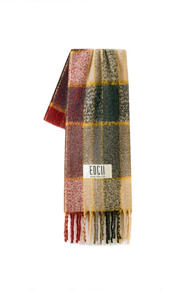 钛灰红格纹棉花糖羊毛围巾