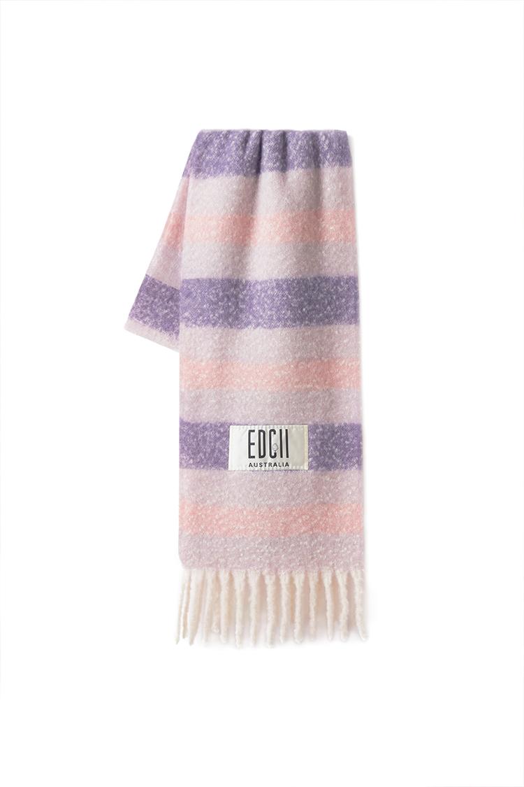 香芋紫粉条纹棉花糖羊毛围巾