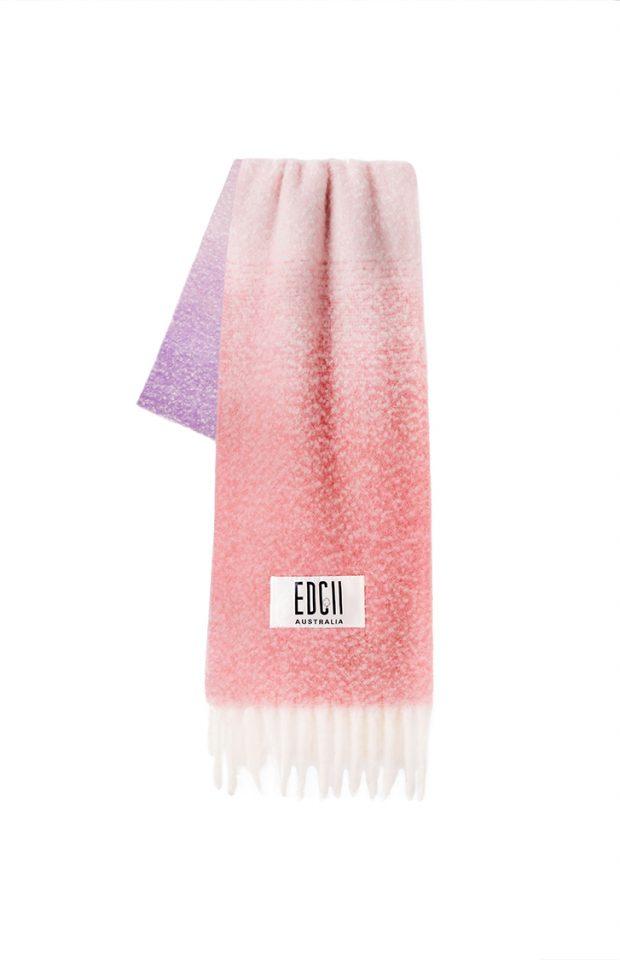 极光粉紫渐变棉花糖羊毛围巾