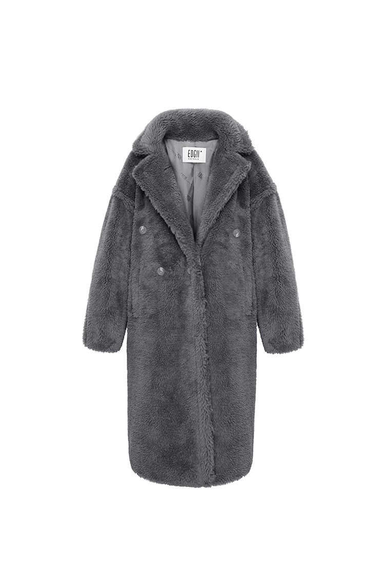 经典泰迪羊毛大衣灰色