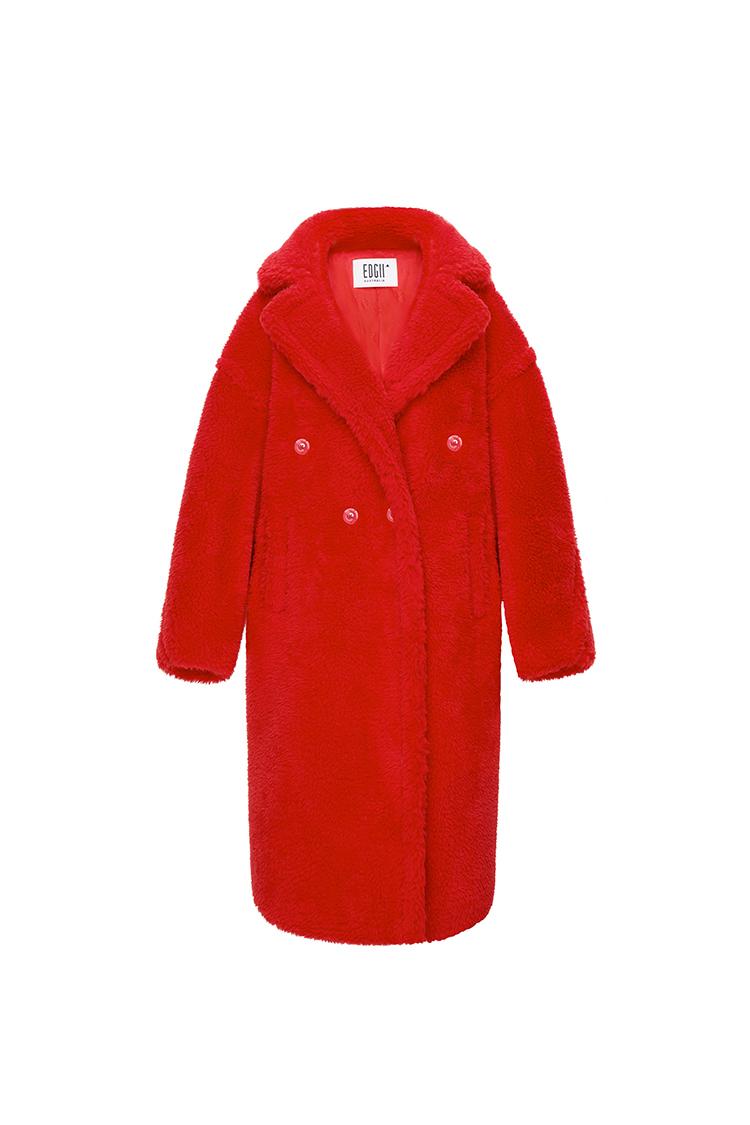 经典泰迪羊毛大衣红色