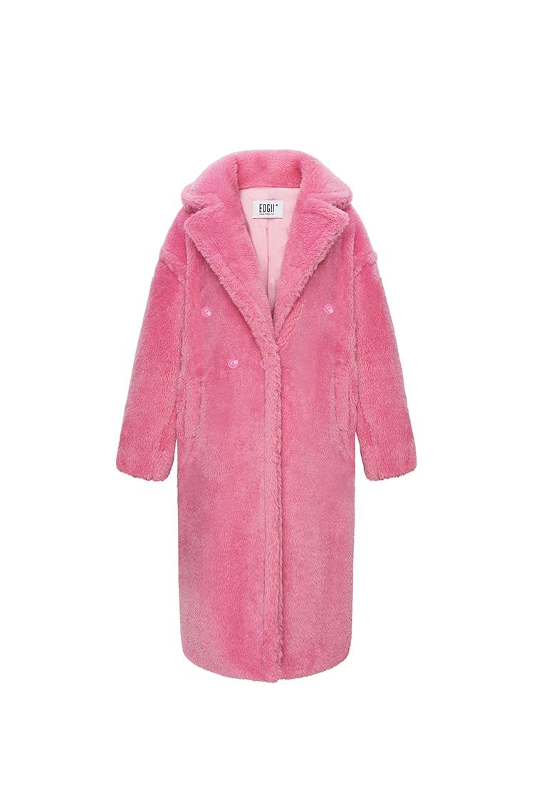 经典泰迪羊毛大衣脏粉色