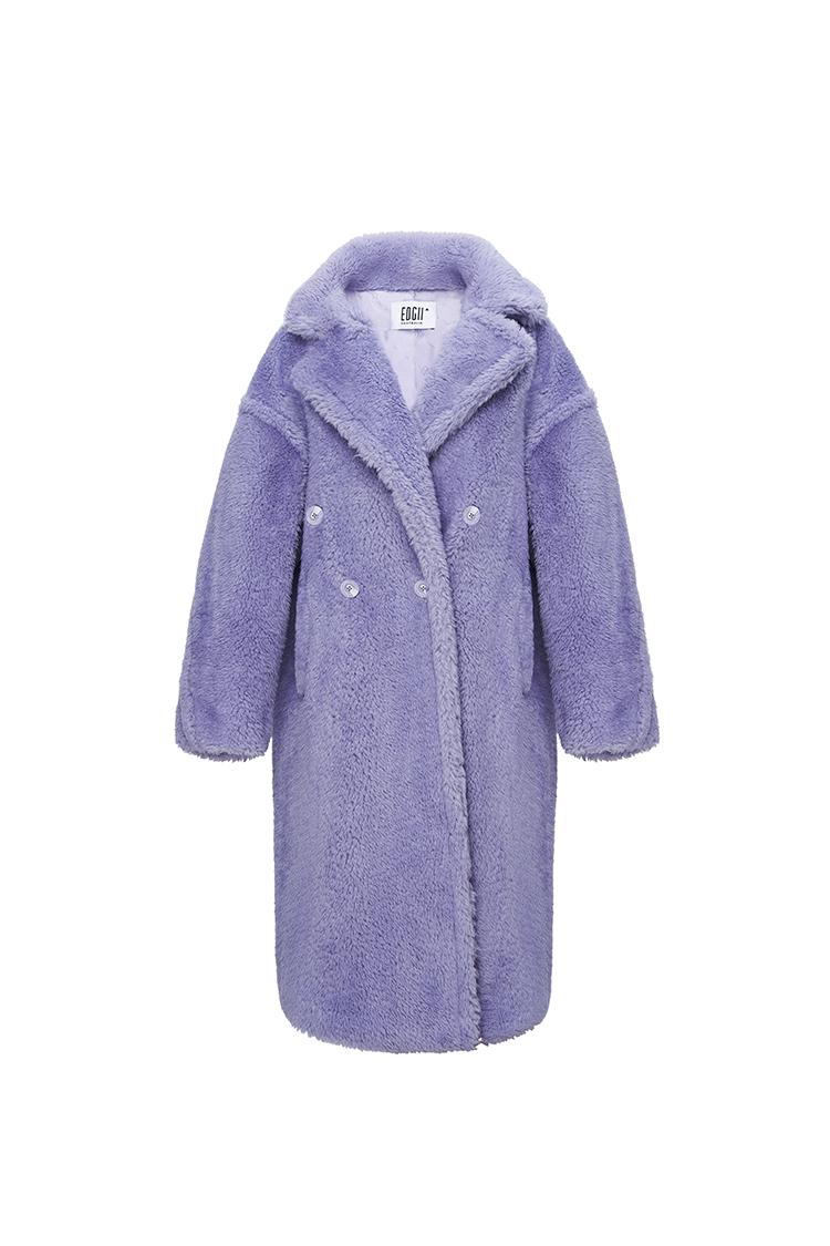 经典泰迪羊毛大衣香芋紫