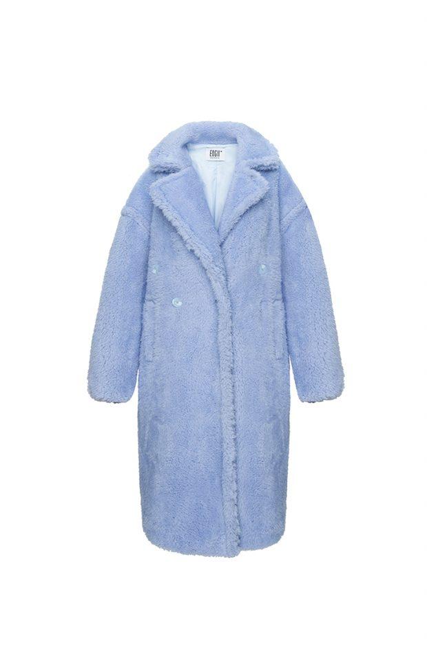 经典泰迪羊毛大衣雾霾蓝