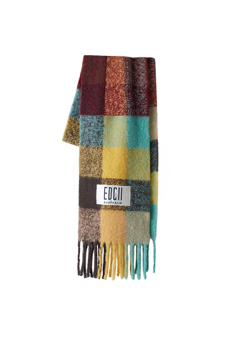 神秘绿洲格纹棉花糖羊毛围巾